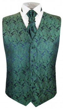Green paisley boys waistcoat and cravat | festive vest set and ascot tie