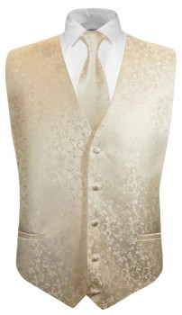 Champagner floral boys waistcoat and necktie | festive vest set and tie
