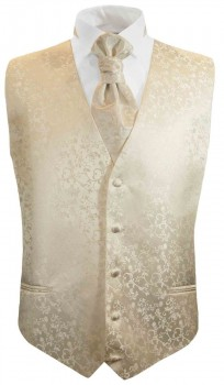 Champagner floral boys waistcoat and cravat | festive vest set and ascot tie