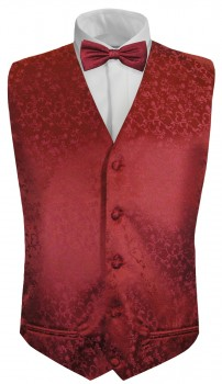 Red floral boys waistcoat and bow tie | festive vest set and bow tie
