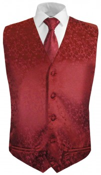Red floral boys waistcoat and necktie | festive vest set and tie