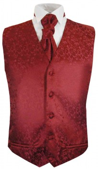 Red floral boys waistcoat and cravat | festive vest set and ascot tie