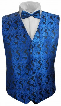 Blue paisley boys waistcoat and bow tie | festive vest set and bow tie