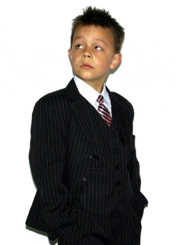 kids tuxedo suits with 5 pcs. black pinestripes