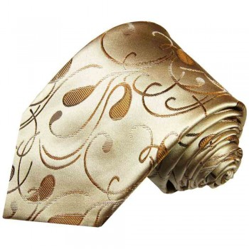 Gold brown tie paisley necktie - silk mens tie and pocket square and cufflinks