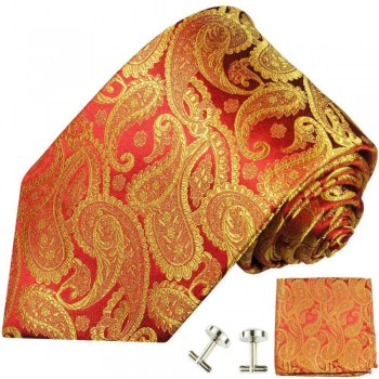Red gold tie paisley necktie - silk mens tie and pocket square and cufflinks