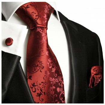 Burgundy red tie for wedding floral pattern v95