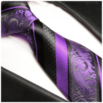 Black purple tie 100% silk mens tie baroque striped necktie 498