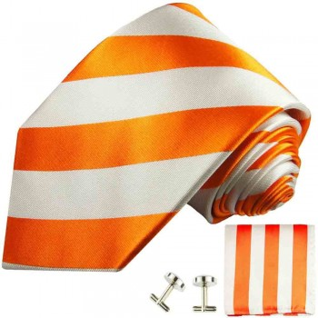 Orange striped necktie - silk mens tie and pocket square and cufflinks