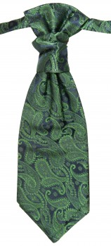 Emerald green paisley ascot tie for wedding v14