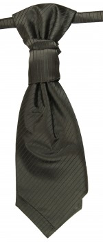 Cravat black solid striped | pre-tied wedding ascot tie PLv21