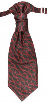 Cravat red black baroque | pre-tied wedding ascot tie PLv4