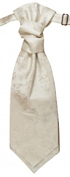 Cravat ivory off-white floral | pre-tied wedding ascot tie PLv41