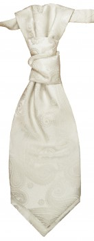 Cravat ivory off-white paisley | pre-tied wedding ascot tie PLv44