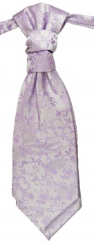 Cravat purple lilac floral | pre-tied wedding ascot tie PLv93