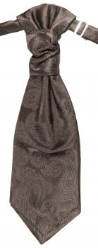 Wedding cravat brown paisley ascot tie
