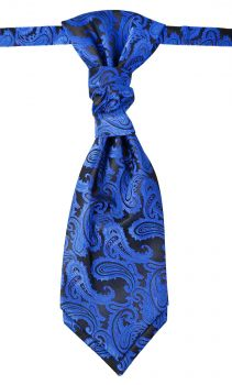 Wedding cravat blue paisley ascot tie