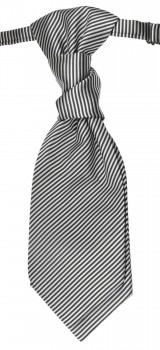 Cravat silver black striped | pre-tied wedding ascot tie PLv7