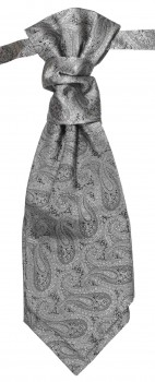 Silver gray paisley ascot tie for wedding v30