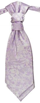 Wedding cravat purple lilac floral ascot tie