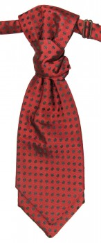 Cravat red black polka dots | pre-tied wedding ascot tie PLv22