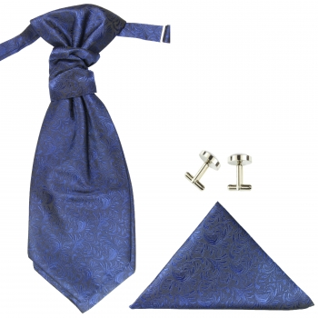 Wedding cravat blue ascot tie