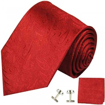Red mens tie paisley necktie - silk tie and pocket square and cufflinks