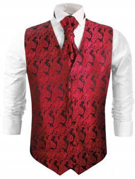 Red waistcoat for wedding with necktie ascot tie pocket square and cufflinks v99