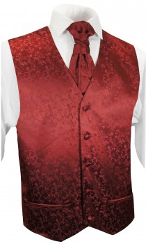 Burgundy red waistcoat floral for wedding with necktie ascot tie pocket square and cufflinks v95