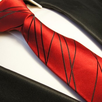 Red tie 100% silk mens tie black striped necktie 374