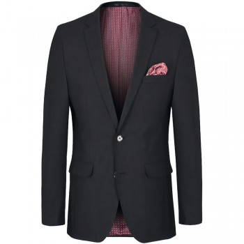 Mens dress jacket black for men with AMF stitch