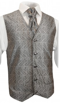 silver gray paisley wedding tuxedo vest with ascot tie v30