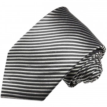 Paul Malone tie silver black necktie striped v7