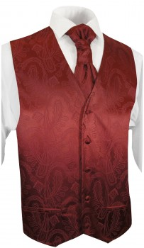maroon red paisley wedding tuxedo vest with ascot tie v1