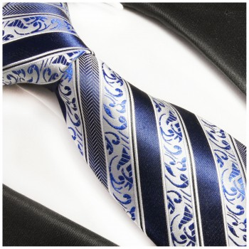 PAUL MALONE necktie 100% silk blue striped 855