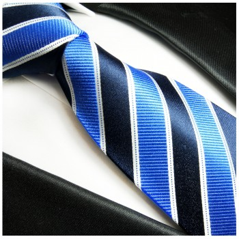 Blue mens tie 100% silk necktie striped 454