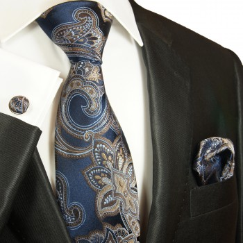 Blue brown  tie paisley necktie - silk mens tie and pocket square and cufflinks