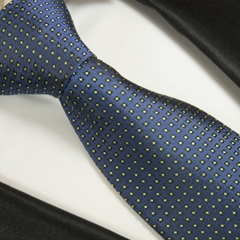 Blue green dotted XL necktie (165cm) 100% silk 2041