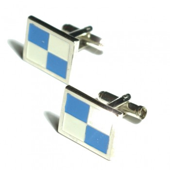 Silver blue white cufflinks by Paul Malone Ma18