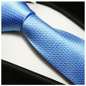 Blue mens tie solid 100% silk necktie 502