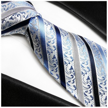 Blue mens tie 100% silk baroque striped 718