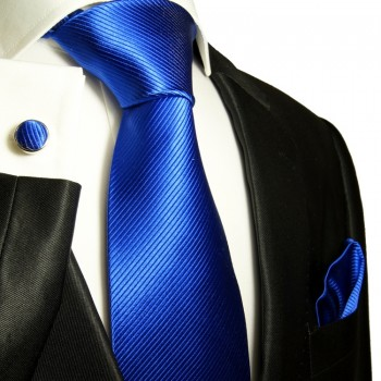 Blue necktie set 3pcs + handkerchief + cufflinks 349