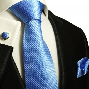 Blue necktie set 3pcs + handkerchief + cufflinks 502