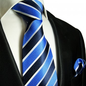 Blue silk necktie set 2pcs. Tie + Handkerchief 454
