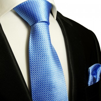 Blue silk necktie set 2pcs. Tie + Handkerchief 502