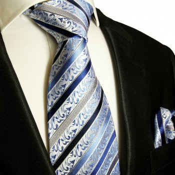 Blue silk necktie set 2pcs. Tie + Handkerchief 718