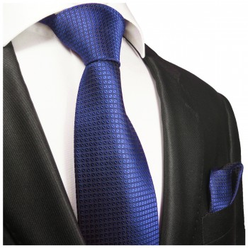 Silk Necktie Set 2pcs. mens tie and pocket square blue checkered 2048