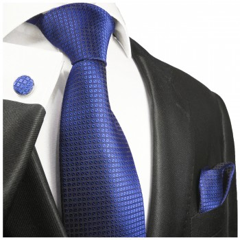 Blue checkered necktie set 3pcs + handkerchief + cufflinks 2048