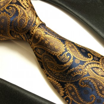 Blue brown tie 100% silk mens necktie paisley 512