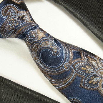 Navy blue brown mens tie 100% silk necktie paisley 2043